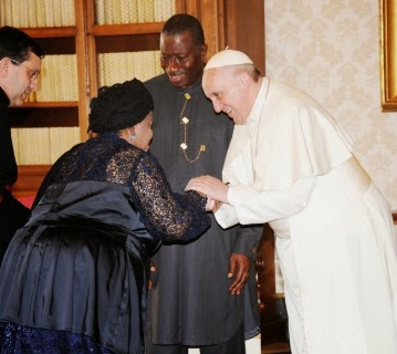 First Lady, Dame Patience Jonathan greeting Pope Francis