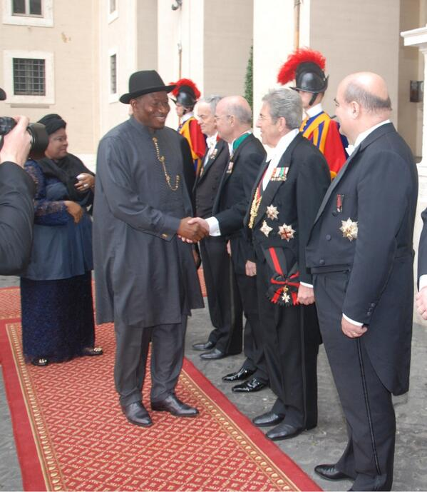 President Jonathan on arrival at the Vatican City | Photo; Reuben Abati