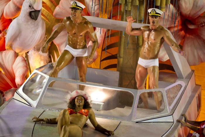 Performers from the Academicos do Salgueiro samba school parade on a float in Rio, on February 10, 2013. (AP Photo/Felipe Dana)