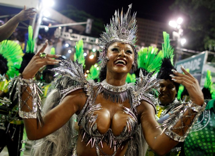 Drum Queen Camila Silva of the Mocidade Independente samba school, on the first night of the annual Carnival parade in Rio de Janeiro's Sambadrome, on February 11, 2013. (Reuters/Pilar Olivares)