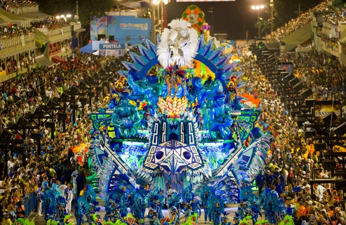 Performers from the Portela samba school, during the first night of Carnival, in Rio de Janeiro, on February 11, 2013. (Antonio Scorza/AFP/Getty Images)