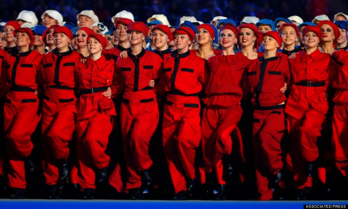 Actors perform at the Fisht Olympic stadium during the opening ceremony of the 2014 Winter Paralympics in Sochi, Russia, Friday, March 7, 2014.  (Photo Credit: AP/Dmitry Lovetsky)