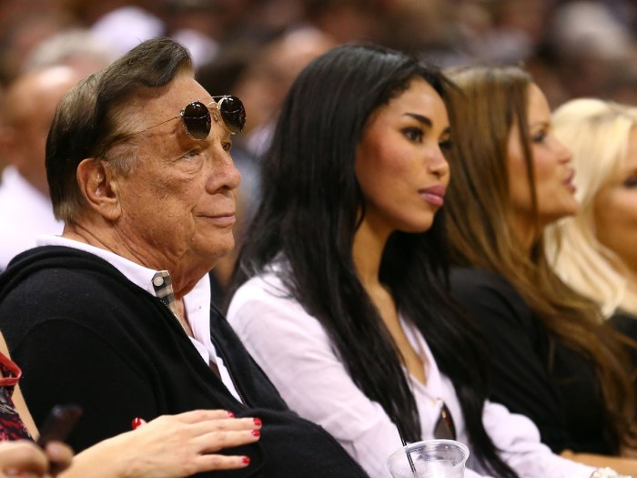(2nd L) Team owner Donald Sterling of the Los Angeles Clippers watches the San Antonio Spurs play against the Memphis Grizzlies during Game One of the Western Conference Finals of the 2013 NBA Playoffs at AT&T Center on May 19, 2013 in San Antonio, Texas.  (Photo Credit: Ronald Martinez/Getty Images)