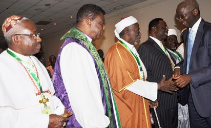 From left: His Eminence Dr. [Rtd] Sunday Ola Makinde, Prelate of the Methodist Church Nigeria, Acbishop Georgr Amu, CAN Secretary, Chief Imam Ahmed Babatunde Yusuf and Gov. Babatunde Fashola of Lagos state, during the Lagos state Government, organize Inter-Faith Conference, Theme: Peace, Religious Harmony and Good Governance; Issue and Challenges, held at Golden Tulip Hotel, Festac Town, Lagos. on. 19/05/2014. (Photo Credit: Bunmi Azeez/Vanguard)