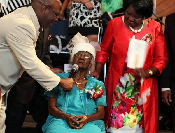 Jeralean Talley at the celebration of her 114th birthday