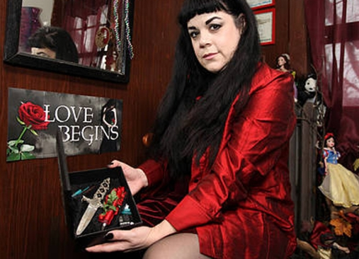 Julia Caples pictured with her pagan styled knif