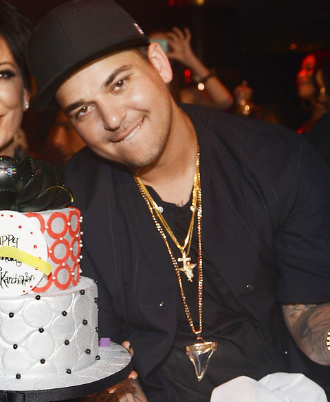 Rob Kardashian (R) celebrates his 26th birthday with his mom Kris Jenner (R) at 1 OAK Nightclub at the Mirage on March 15, 2013 in Las Vegas, Nevada.  (Photo Credit: Denise Truscello/WireImage)