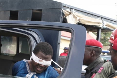 Kano bomber arrested by the Nigerian police (Photo Credit: Sahara Reporters)