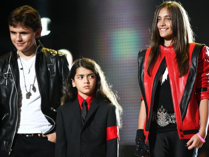 CARDIFF, WALES - OCTOBER 08:  Michael Jackson's children (from left) Prince, Blanket, Paris perform at the 'Michael Forever' concert to remember the late Michael Jackson at The Millenium Stadium on October 8, 2011 in Cardiff, United Kingdom.  (Photo Credit: Dave J Hogan/Getty Images)