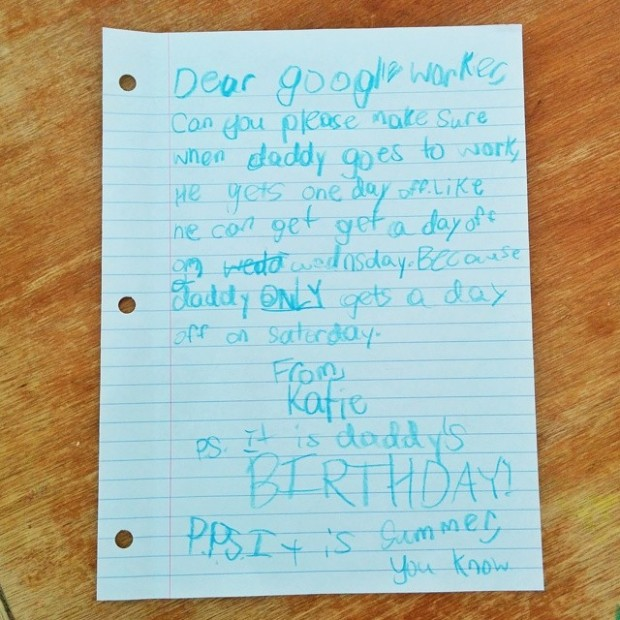 The girl wrote this adorable letter to Google (Picture: Imgur)