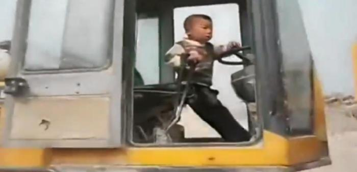 The boys father, who is a construction worker first allowed him to drive the vehicle when he was only 3 [Photo Credit: Jerry Maguire via YouTube]