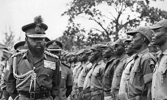 Colonel Emeka Ojukwu inspects a guard of troops during the Nigerian Civil war of the 1960s   Facebook