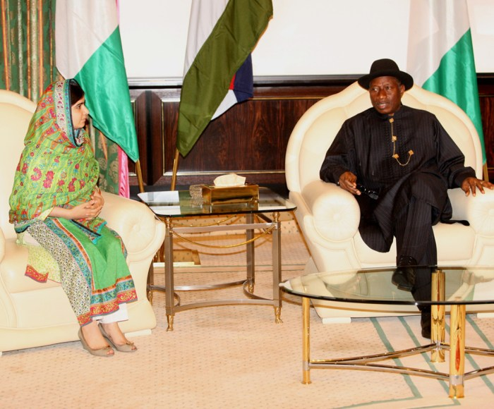Girl child education activist Malala Yousafzai and President Goodluck Jonathan during a courtesy visit to the President on Monday, July 14, 2014 [Photo Credit: African Examiner]
