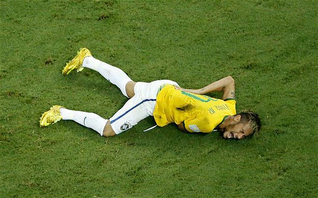 End of the road: Neymar's World Cup is over after suffering injury in Brazil's win over Colombia (Photo Credit: AP)