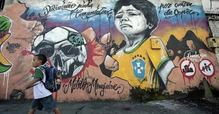 Street art conveys the complaints of Brazilians who do not support the 2014 FIFA World Cup. Source: Urban Times