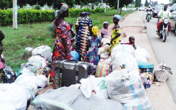 Persons displaced as a result of the clash... on Monday [photo credit: Umar Muhammed/The Punch]