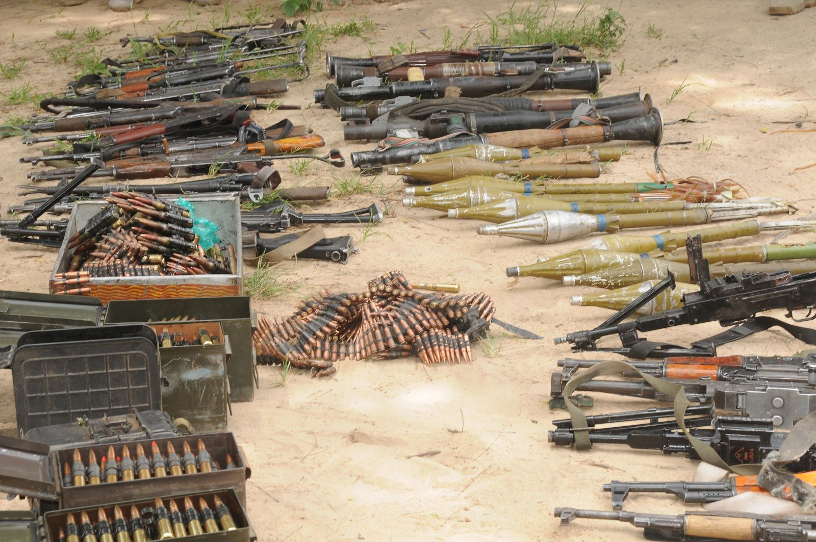 Assorted arms and ammunition captured from terrorists in Konduga (2)