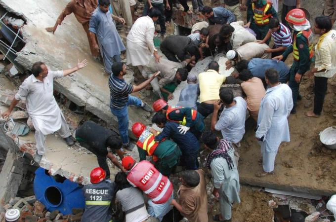 Up to 30 people were in the mosque when the roof collapsed [Photo Credit: AFP]