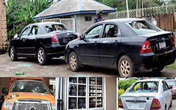The Edo State House of Assembly quarters and the vandalised cars after the attack [Photo Credit: Edo State government house]