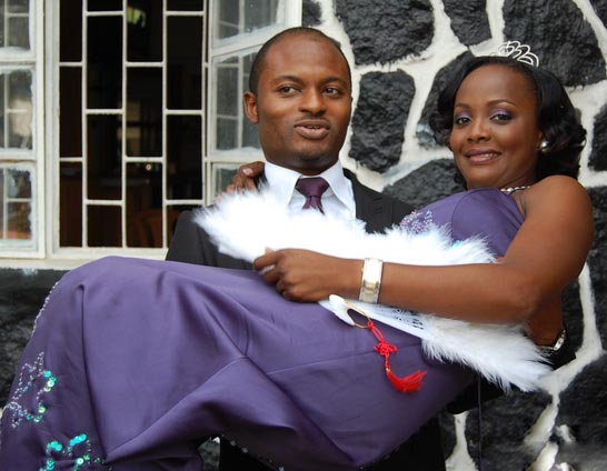 Helen Paul and husband, Femi Bamisile on their wedding day in 2010