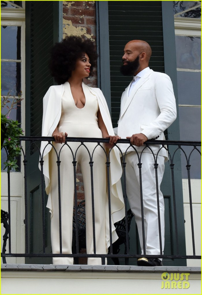 "Bride-to-be Solange Knowles and her fiance Alan Ferguson pose on a French Quarter balcony just before they say ""I do"" in New Orleans, Louisiana. (Photo Credit: INFphoto.com)"