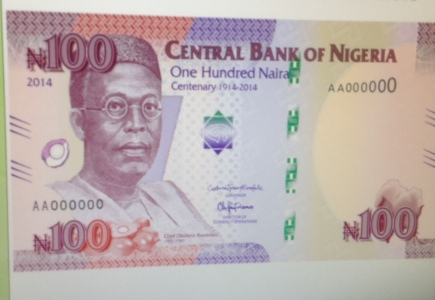 New centenary N100 notes to commemorate 100 years anniversary of Nigeria since amalgamation, unveiled by President Goodluck Jonathan at the Presidential Villa in Abuja on Wednesday, November 12, 2014. (Photo Credit:Punch)