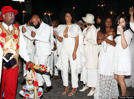 Singer Solange Knowles weds Alan Ferguson in front of friends and family in New Orleans, Louisiana on November 16, 2014. After the ceremony Solange and Alan enjoyed a Mardis Gras style parade with their wedding guests in the French Quarter and while Solange was dancing she suffered a slight wardrobe malfunction!  (Photo Credit: FameFlynet)