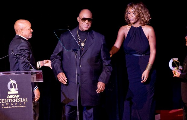Stevie Wonder and his financee, Tomeeka Robyn Bracy stand with Motown founder Berry Gordy, left, and ASCAP President Paul Williams, right at the 2014 ASCAP Centennial Awards, benefiting the ASCAP Foundation and its music education, talent development and humanitarian activities, at the Waldorf-Astoria on Monday, Nov. 17, in New York. | Associated Press/Stephen Chernin
