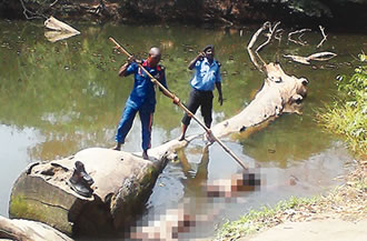 The scene of the incident where the lifeless remains of two students were seen afloat on Wednesday, January 28, 2015 at Osun river,  Ijetu area of Osogbo. (Photo Credit: Punch)