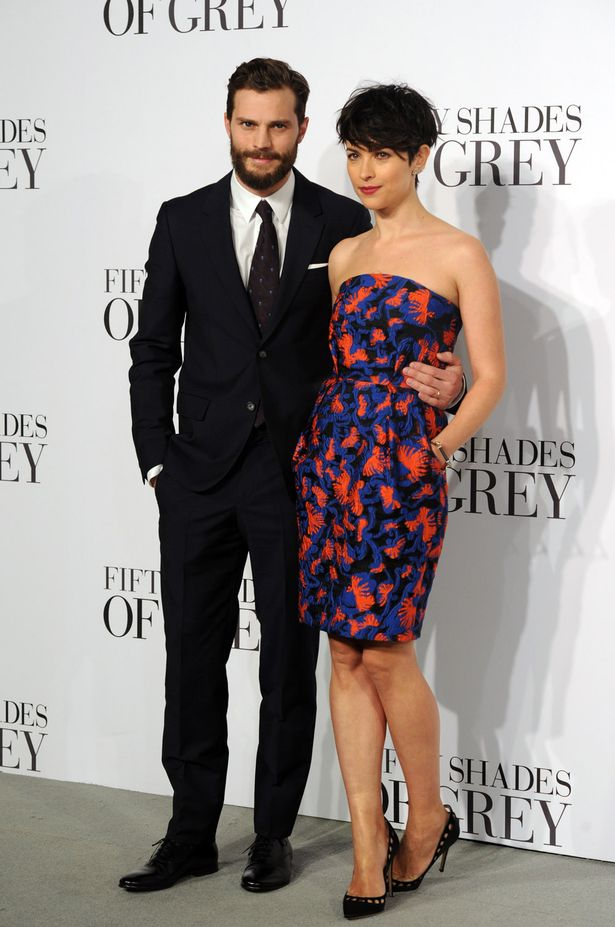 Jamie Donard and his wife Amelia Warner during the Fifty Shades of Grey premier in UK (Photo Credit: Mail Online)