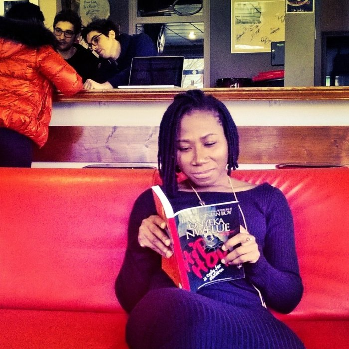 Singer Asa reading a copy of Hip Hop is Only for Children in Paris, France