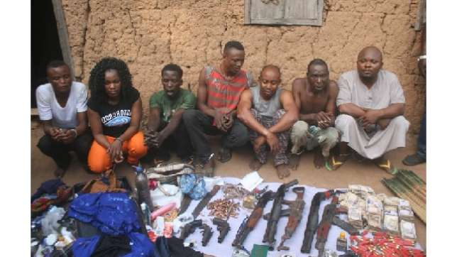 Suspected kidnappers, arrested on Monday, March 9, 2015 in connection with the kidnap of NACCIMA boss in Ibadan. (Photo Credit: Pulse)