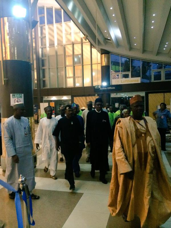 General Buhari at the Nnamdi Azikiwe International Airport, Abuja on Friday, March 6, 2015 (photo credit: The Scoop)