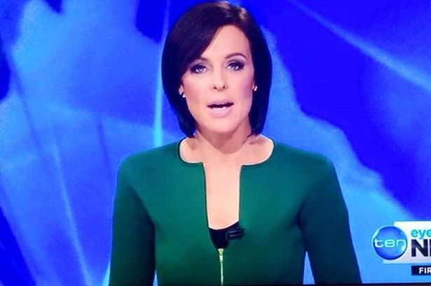 Natasha Belling wears a jacket with a penis-shaped neckline to present news on Sunday, March 15, 2015 and it has generated some hilarious comments from several internet users. (Photo Credit: Mirror UK)