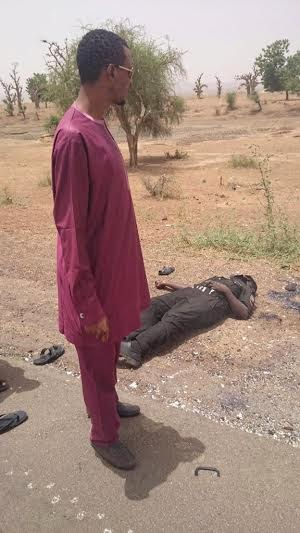 A police man who was also killed in Gombe State (Photo Credit: Linda Ikeji's blog)