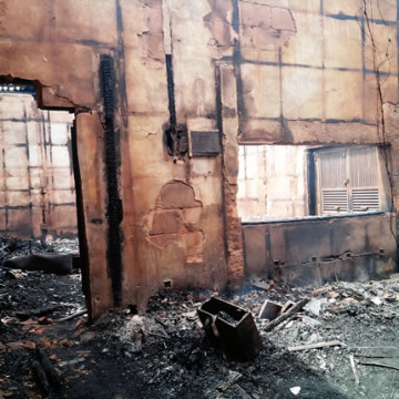 A part of the Independent Television which was razed down by fire on Saturday, March 7, 2015 in Edo state. (Photo Credit: Punch)