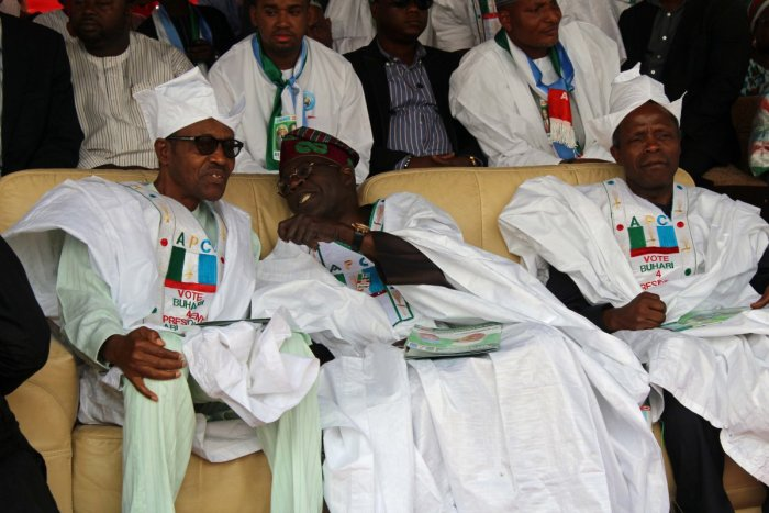 General Muhammed Buhari (Left), the presidential candidate of the All Progressive Congress (APC) with party leader, Bola Ahmed Tinubu and, vice presidential running mate to Buhari, Prof Yemi Osinbajo (right) pictured at a campaign event in Minna, Niger State in 2015 (Photo provided by Buhari Campaign Organisation)