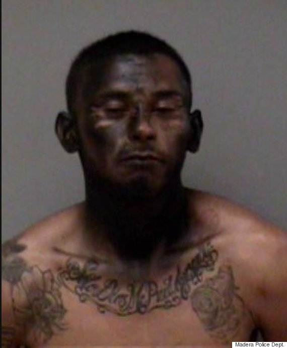 23-year-old car thief suspect, Jose Espinoza, was arrested by Police operatives in Madera, California,after he sprayed black paint on his face. (Photo Credit: California Police)