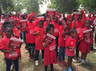 The Bring Back Our Girls, BBOG, campaign ambassadors marched to the Federal Ministry of Education, Abuja on Tuesday, April 14, 2015. (Photo Provided by BBOG Organisation)