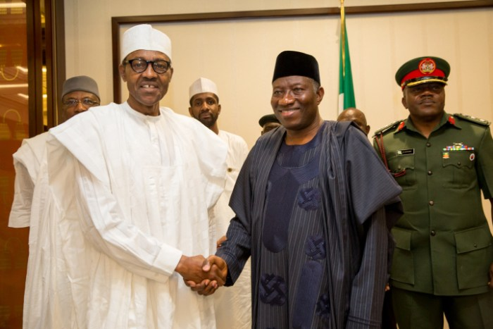 President Goodluck Jonathan and the President-elect, General Muhammadu Buhari on Friday, April 24, 2015 held a closed door meeting at the Banquet Hall of the State House in Abuja. (Photo Credit: Scoop NG)