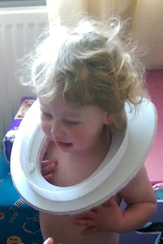 Two-year-old Makynli Hood from Seaham had her neck stuck in a toilet seat which was bought by her 23-year-old mum for her potty training. (Photo Credit: SWNS)