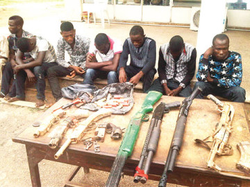 The suspects including Bolaji Olawumi and John Isaac who escaped from Federal Prisons Ado Ekiti in Ekiti State were re-arrested for armed robbery operation in the Saki and Ogbomoso areas of Oyo State. (Photo Credit: Punch)