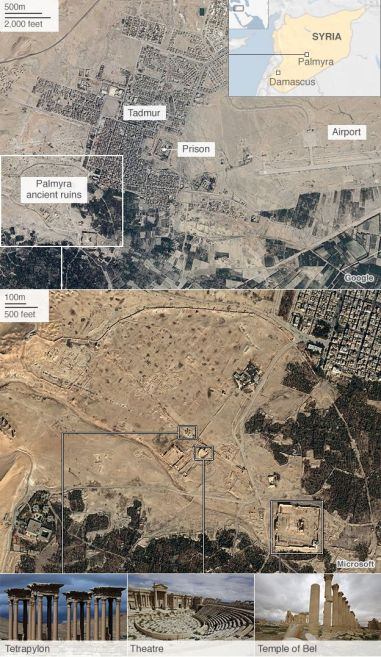 Map showing Palmyra's location (Photo Credit: AFP)
