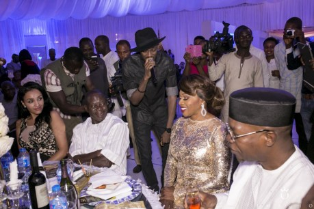 Adams Oshiomole and his beautiful bride to be, Lala Fortez pictured at a recent event.( Photo Credit: remikuti.com)