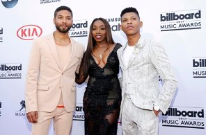 Jussie Smollett, from left, Estelle, and Bryshere Y. Gray arrive at the Billboard Music Awards at the MGM Grand Garden Arena on Sunday, May 17, 2015, in Las Vegas. (Photo by Eric Jamison/Invision/AP)