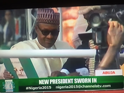 General Muhammadu Buhari was on Friday, May 29, 2015 sworn in as the new President of Nigeria. (Photo Credit: Channels TV)