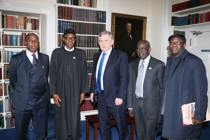 Chibuike Amaechi (left), Buhari, Gordon Brown, Bola Ahmed Tinubu and Kayode Fayemi at Chatham House, London. (Photo Credit: Buhari Campaign Organisation)