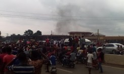 Traders in Anambra state under the umbrella of the Amalgamated Market Traders Association of Anambra, AMATAS, on Saturday, June 27, 2015 staged a protest across the state over alleged plans by the federal government to transfer some Boko Haram prisoners to the state. (Photo Credit: Trent)