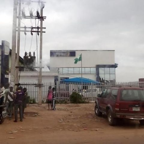 Omitoro branch of First Bank Ikorodu which was raided on Monday, June 1, 2015 by some armed bandits who carted an unspecified amount of money. (Photo Credit: Witness)