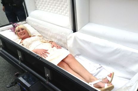 The 'corpse bride', Jenny Buckleff, 58, appeared in a coffin at her wedding venue on Saturday, May 30, 2015 when she got married to Christopher Lockett, 51, from Stoke-on-Trent, Staffs. (Photo Credit: NTI)